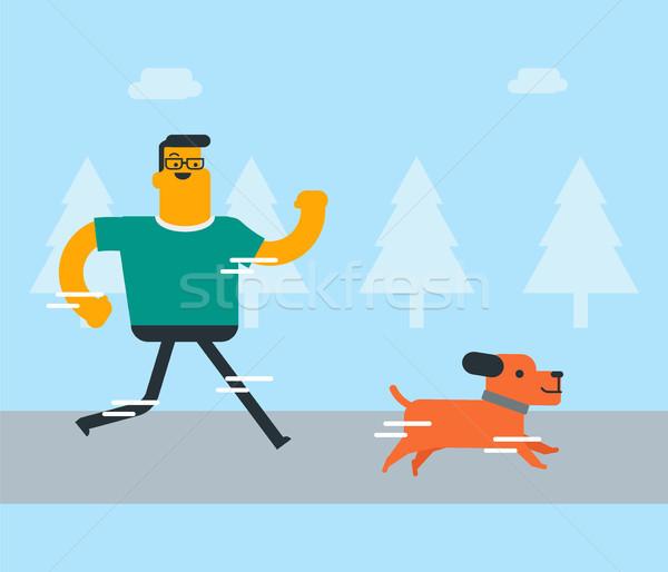 Zdjęcia stock: Młodych · biały · człowiek · szkolenia · psa · parku