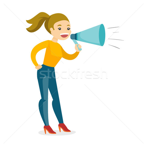 Young caucasian white speaker holding a megaphone. Stock photo © RAStudio