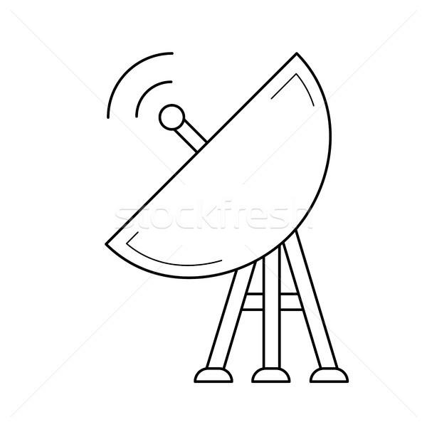 спутниковой пластина линия икона вектора изолированный Сток-фото © RAStudio