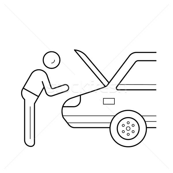 Naprawa samochodów line ikona usługi wektora odizolowany Zdjęcia stock © RAStudio