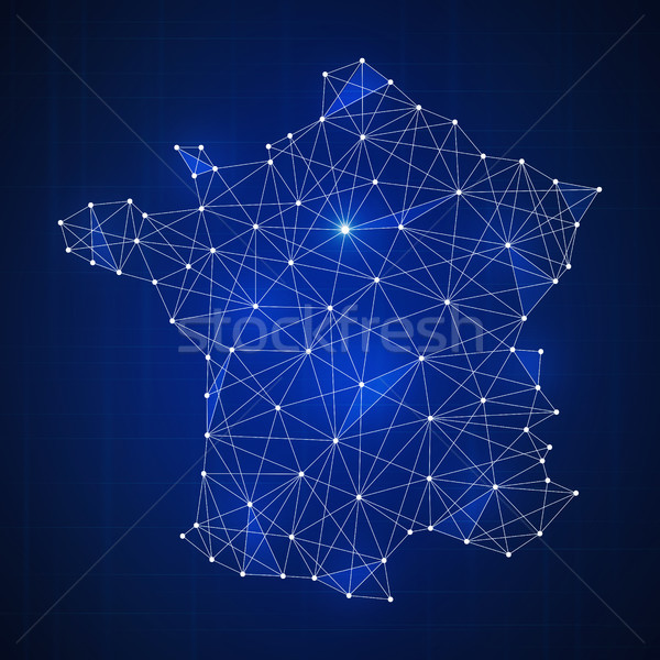 Polygon France map on blockchain hud banner. Stock photo © RAStudio