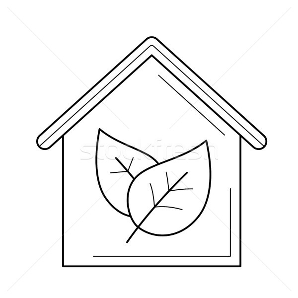 Ecology friendly house with leaf vector line icon. Stock photo © RAStudio