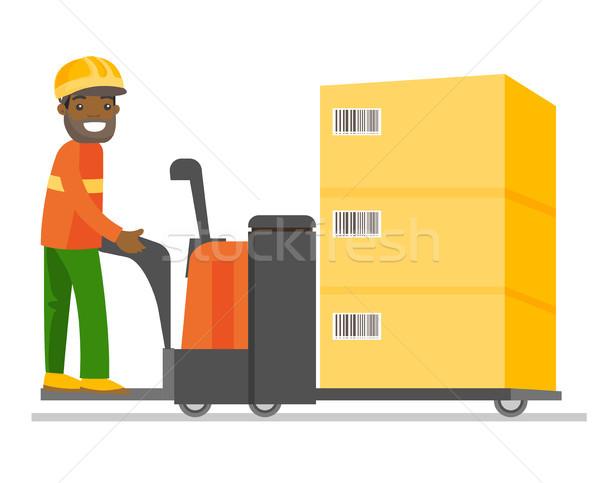 Stock fotó: Fiatal · afrikai · raktár · munkás · vezetés · targonca