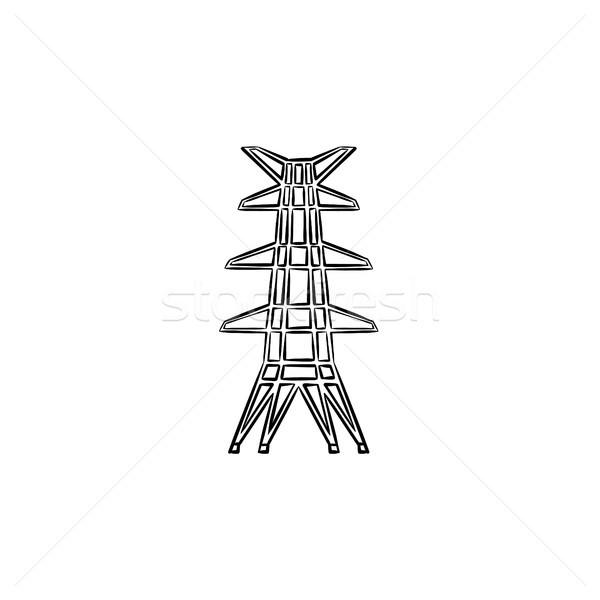 электрических башни рисованной эскиз икона Сток-фото © RAStudio