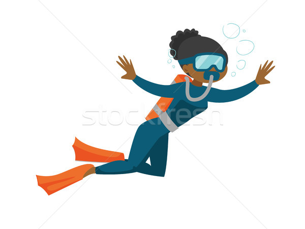 African-american scuba diver enjoying the dive. Stock photo © RAStudio