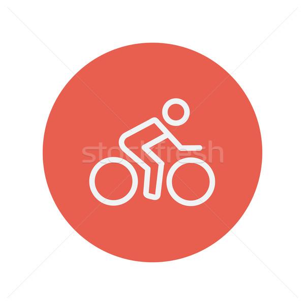 Sport bike and rider thin line icon Stock photo © RAStudio