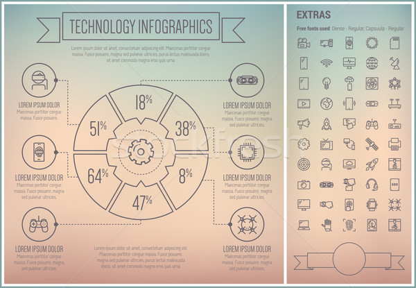Stock photo: Technology Line Design Infographic Template
