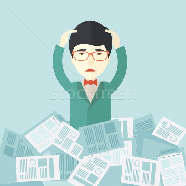 Japán fickó papír körül alkalmazott munka Stock fotó © RAStudio