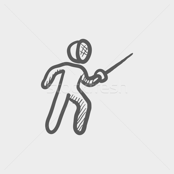 Fencing sport sketch icon Stock photo © RAStudio