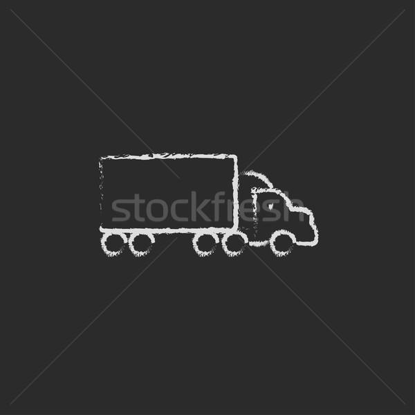 Camion de livraison icône craie dessinés à la main tableau noir Photo stock © RAStudio
