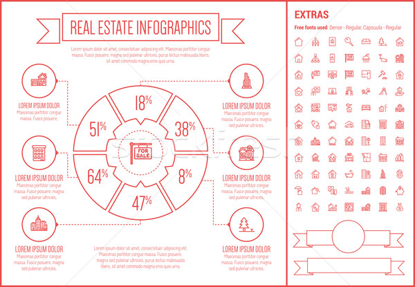 Stock photo: Real Estate Line Design Infographic Template