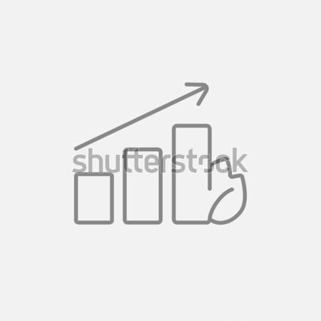 Bar graph with leaf line icon. Stock photo © RAStudio