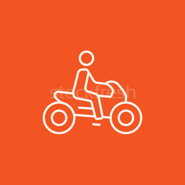 Stock photo: Man riding motorcycle line icon.