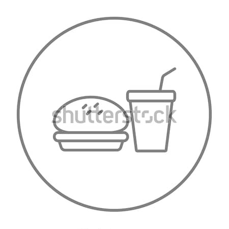 быстрого питания еды линия икона веб мобильных Сток-фото © RAStudio