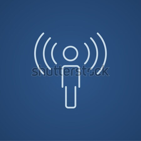 Man with soundwaves line icon. Stock photo © RAStudio