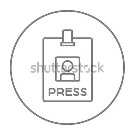 Stock fotó: Sajtó · passz · személyi · igazolvány · kártya · vonal · ikon