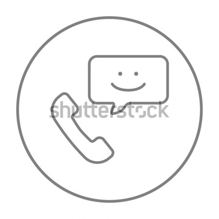 Receiver with speach square line icon. Stock photo © RAStudio