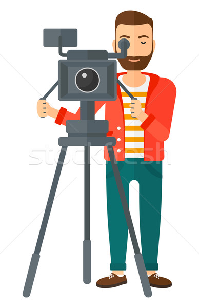Cameraman with movie camera. Stock photo © RAStudio