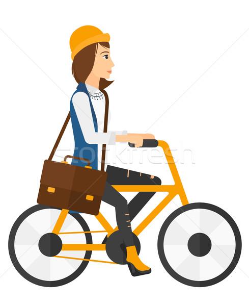 Donna ciclismo lavoro vettore design illustrazione Foto d'archivio © RAStudio