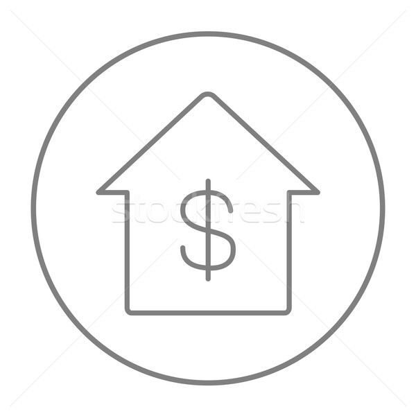Stock photo: House with dollar symbol line icon.