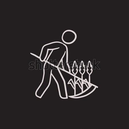 Man mowing grass with scythe line icon. Stock photo © RAStudio