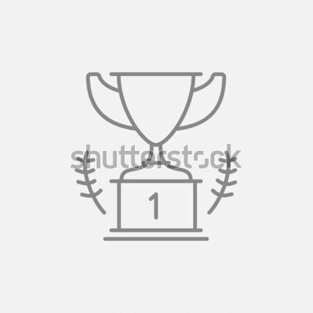 Trofeum line ikona internetowych komórkowych Zdjęcia stock © RAStudio