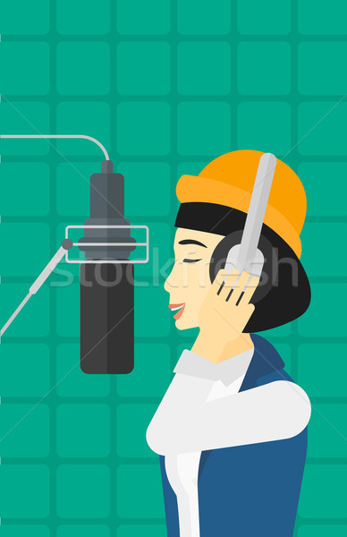 певицы запись азиатских наушники голосом Сток-фото © RAStudio