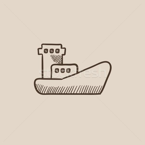 ładunku kontenerowiec szkic ikona internetowych komórkowych Zdjęcia stock © RAStudio