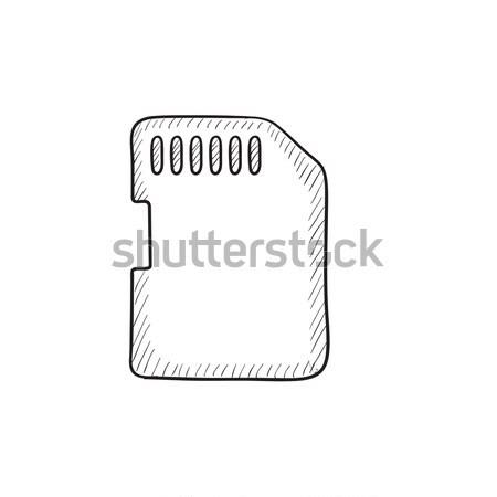 メモリ カード スケッチ アイコン ウェブ 携帯 ストックフォト © RAStudio