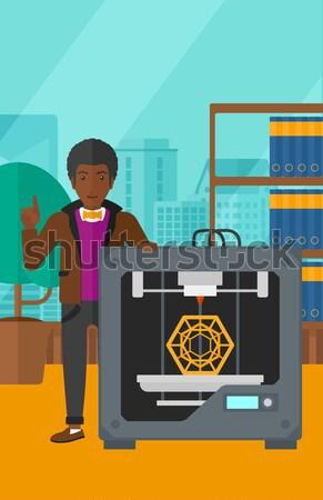 Homem três impressora asiático em pé 3D Foto stock © RAStudio