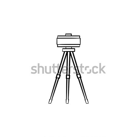 Theodolite on tripod. Drawn in chalk icon. Stock photo © RAStudio