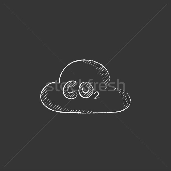 CO2 sign in cloud. Drawn in chalk icon. Stock photo © RAStudio
