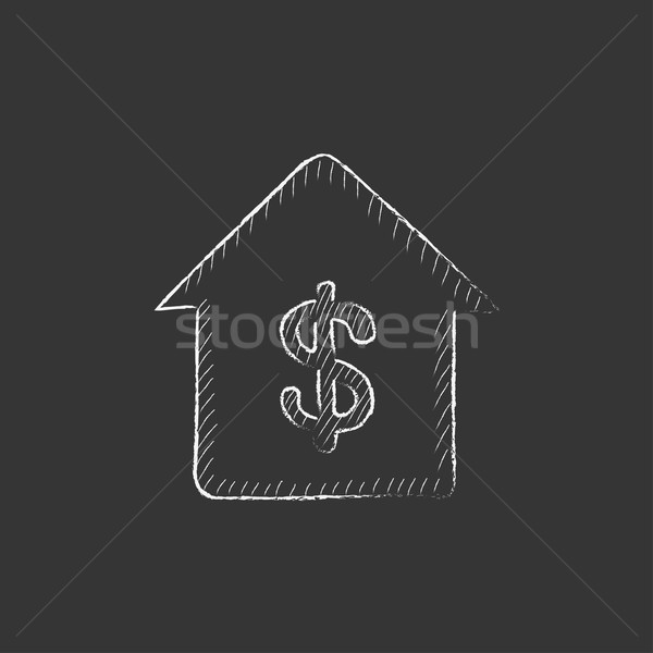 Stock photo: House with dollar symbol. Drawn in chalk icon.