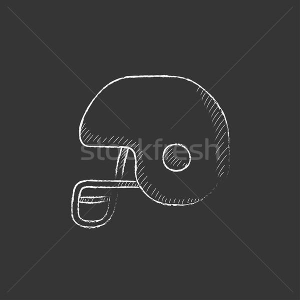 Hockey helmet. Drawn in chalk icon. Stock photo © RAStudio