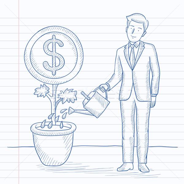 Férfi locsol pénz virág elvesz törődés Stock fotó © RAStudio