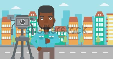телевизор репортер рабочих камеры борода Сток-фото © RAStudio