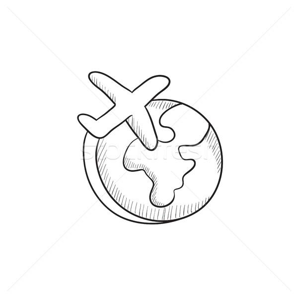 Airplane flying around the world sketch icon. Stock photo © RAStudio