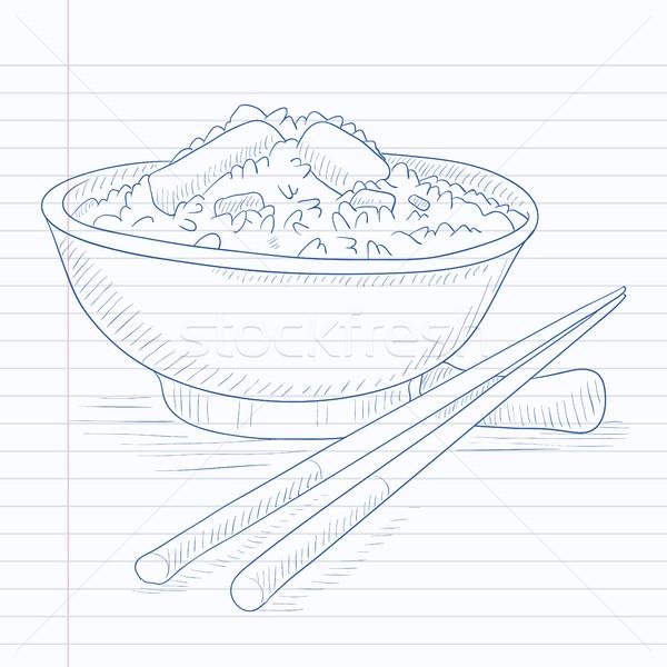 ボウル コメ 箸 手描き ノートブック ストックフォト © RAStudio