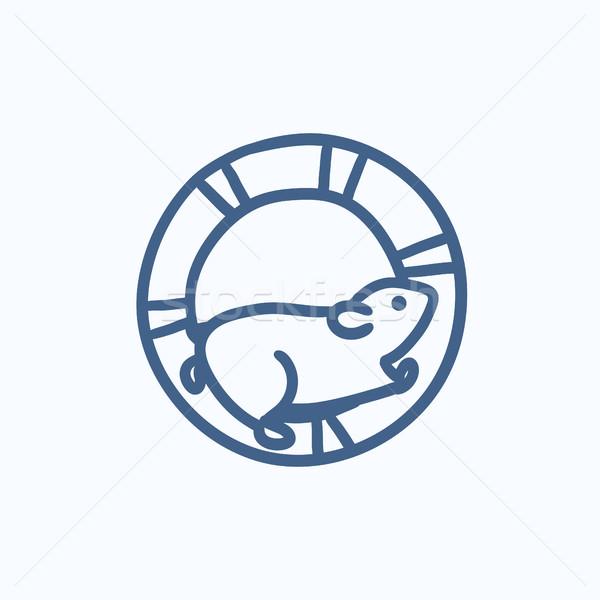 Hamster lopen wiel schets icon vector Stockfoto © RAStudio