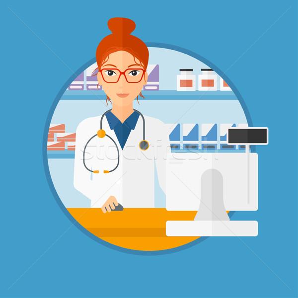 Apotheker counter jonge medische toga Stockfoto © RAStudio