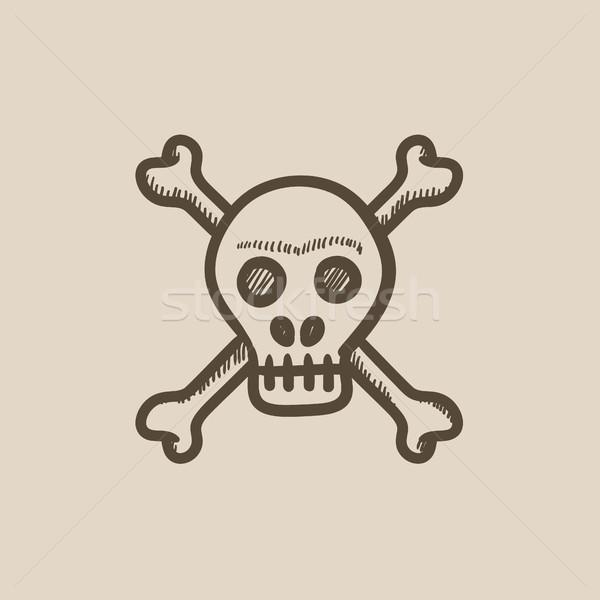 Koponya kereszt csontok rajz ikon vektor Stock fotó © RAStudio