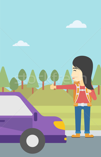 Young woman hitchhiking vector illustration. Stock photo © RAStudio
