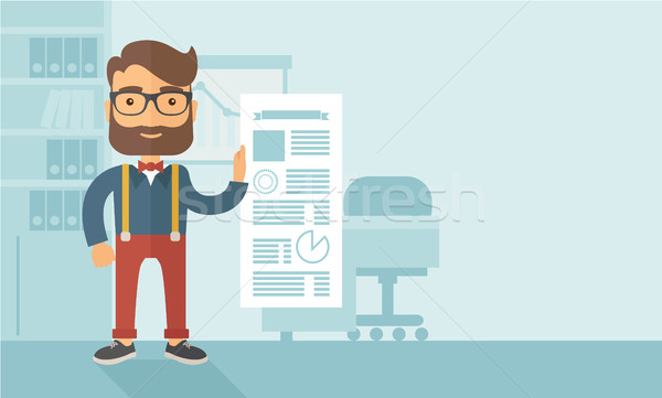 Happy man holding a paper.  Stock photo © RAStudio