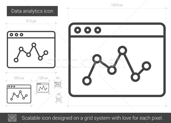 Gegevens analytics lijn icon vector geïsoleerd Stockfoto © RAStudio
