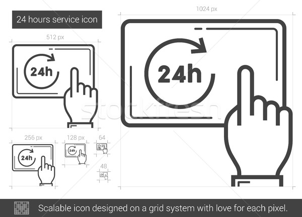 Twenty four hours service line icon. Stock photo © RAStudio