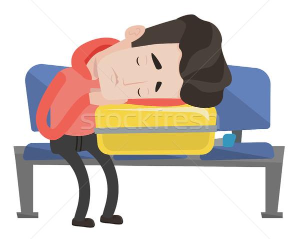 Foto d'archivio: Sfinito · uomo · dormire · valigia · aeroporto · stanco