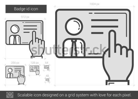 Kitűző személyi igazolvány vonal ikon vektor izolált Stock fotó © RAStudio
