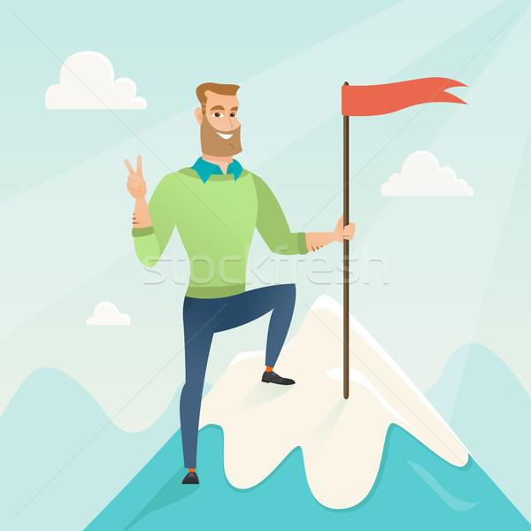 Raggiungimento business obiettivo imprenditore raggiunto bandiera Foto d'archivio © RAStudio
