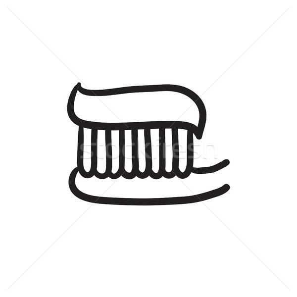 Fogkefe fogkrém rajz ikon vektor izolált Stock fotó © RAStudio