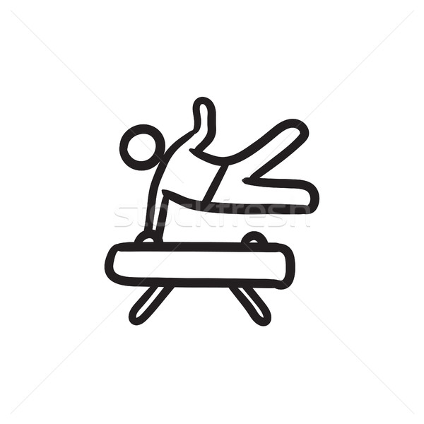 Tornász testmozgás ló rajz ikon vektor Stock fotó © RAStudio